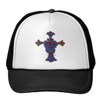 Ornamental Red and Blue Cross Hand Painted Mesh Hats