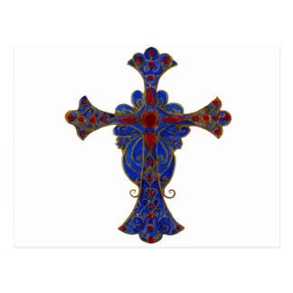 Ornamental Red and Blue Cross Hand Painted Postcard