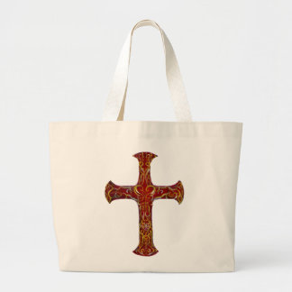 Ornamental Red and Gold Cross Scrollwork Large Tote Bag