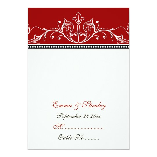 Ornamental red white wedding place card