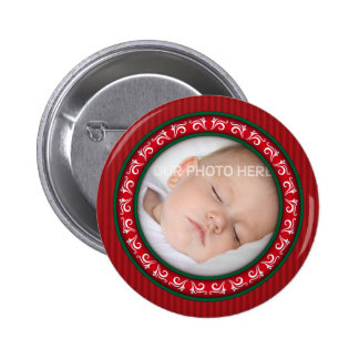 Ornamental round Christmas photo frame 2 Inch Round Button