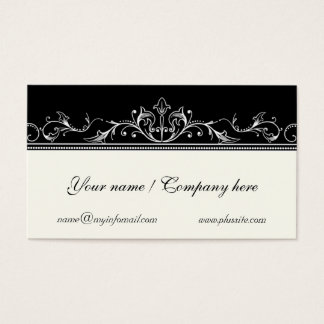 Ornamental scrollwork border black, ivory business card