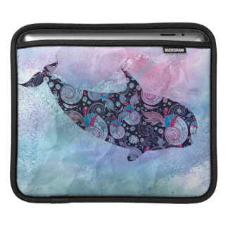 Ornamental Silhouette Whale iPad Sleeves