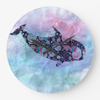 Ornamental Silhouette Whale Large Clock