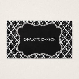 Ornamental  Silver Black Chic Vip Business Card