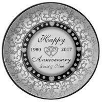 Ornamental Silver Custom Anniversary Porcelain Plate