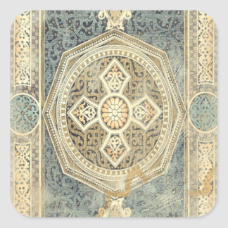 Ornamental Tapestry with Ornate Geometric Design Square Sticker