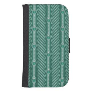 Ornamental Teal Pattern Samsung S4 Wallet Case