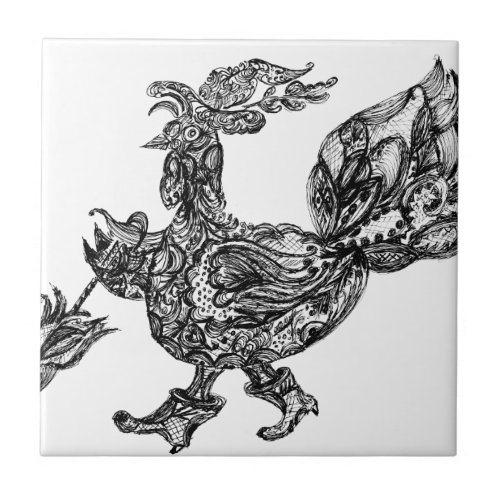 Ornamental Turkey Bird Tile
