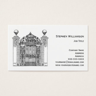 Ornamental Wrought Iron Metal Gate Architectural Business Card