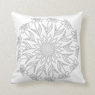OrnaMENTALs #0016 Coneflowers Color Your Own Throw Pillow