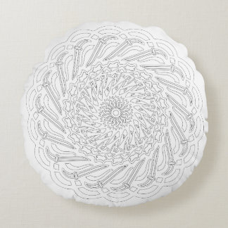 OrnaMENTALs #0018 Cutting Confusion Color Your Own Round Pillow