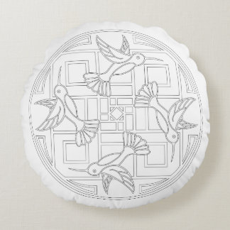 OrnaMENTALs #0021 Hummingbird Color Your Own Round Pillow