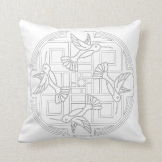 OrnaMENTALs #0021 Hummingbird Color Your Own Throw Pillow
