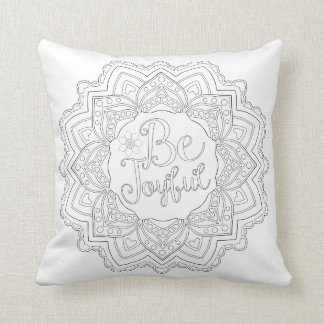 OrnaMENTALs #0022 Be My Mandalatine Color Your Own Throw Pillow