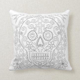 OrnaMENTALs #0028b Sugar Skulls Color Your Own Throw Pillow