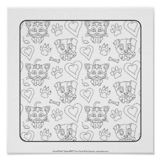 OrnaMENTALs #0077 Furry Friends Color Your Own Poster