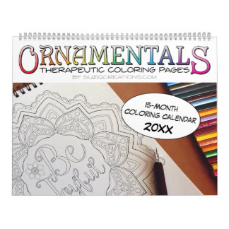 OrnaMENTALs 15-Month Therapeutic Coloring Pages Calendar