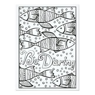 OrnaMENTALs Be Daring Fish Color Your Own Card