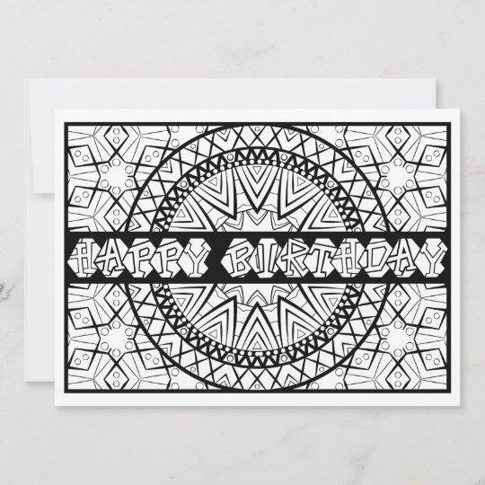 Ornamentals Happy Birthday Sundial Color Your Own Card Zazzle