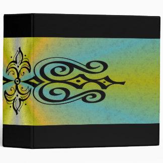 Ornamentation on blue yellow rainbow binder