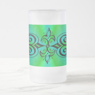 Ornamentation on green blue rainbow frosted glass beer mug