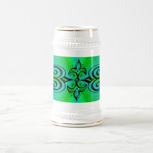 Ornamentation on green blue rainbow coffee mugs