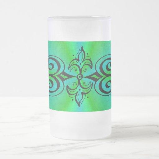 Ornamentation on green blue rainbow coffee mug
