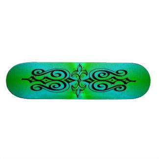 Ornamentation on green blue rainbow skateboard