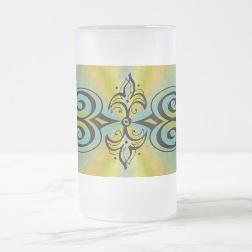 Ornamentation on yellow blue rainbow mugs