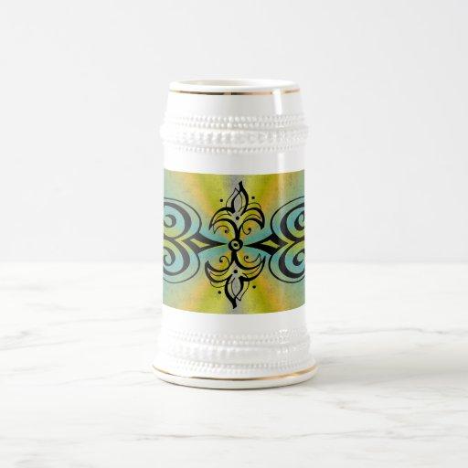 Ornamentation on yellow blue rainbow mug