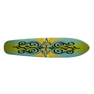 Ornamentation on yellow blue rainbow skateboard deck