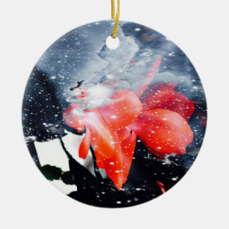 "Ornamentation ""Weihnachtskaktus bloom "" Ceramic Ornament"