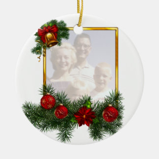 Ornamented Christmas Picture Frame Double-Sided Ceramic Round Christmas Ornament