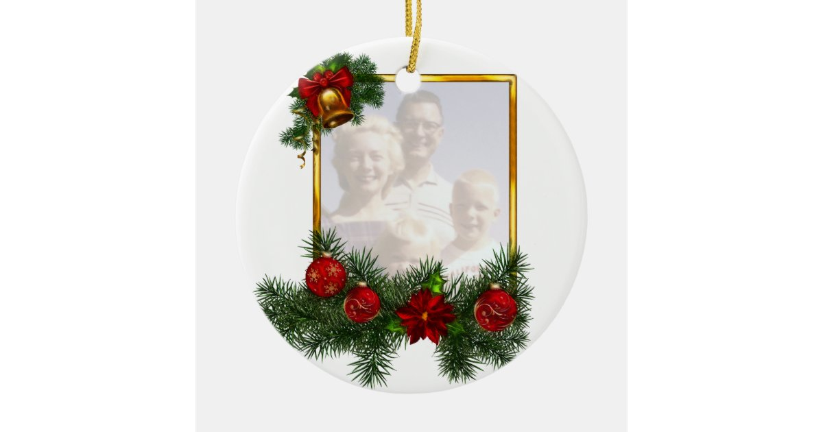 Ornamented Christmas Picture Frame Ceramic Ornament