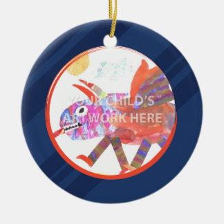 Ornamento $16,95 de la raya azul adorno navideño redondo de cerámica