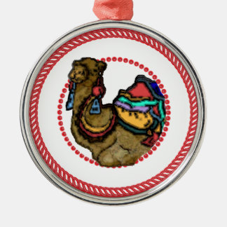 Ornamento #1 del camello de Jesse Adorno Redondo Plateado