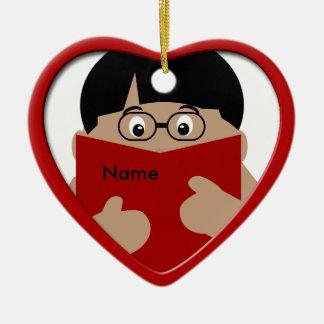 Ornamento 1 del corazón del navidad de la lectura adorno de cerámica en forma de corazón