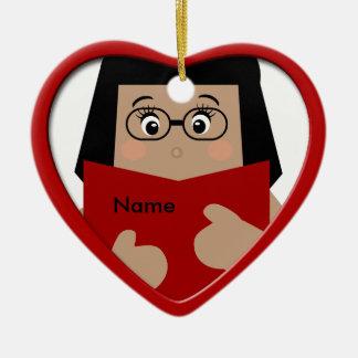 Ornamento 1 del corazón del navidad de la lectura ornato
