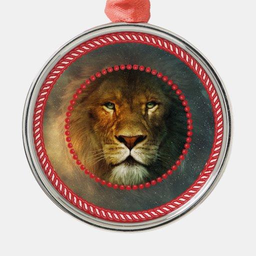 Ornamento #1 del león de Jesse Adorno Redondo Plateado