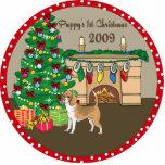 Ornamento 2009 del navidad del perrito del beagle  esculturas fotograficas