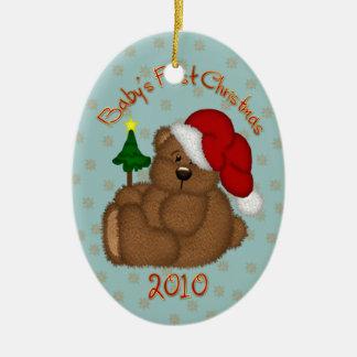 Ornamento 2010 del navidad del bebé del oso de adorno ovalado de cerámica