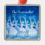 Ornamento 2011 - premio del ballet del cascanueces adorno cuadrado plateado