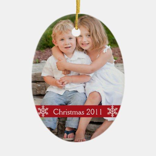 Ornamento 2012 del recuerdo de la foto del navidad adorno ovalado de cerámica