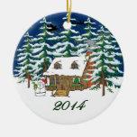 Ornamento 2014 del navidad de la cabaña de madera ornamento de navidad