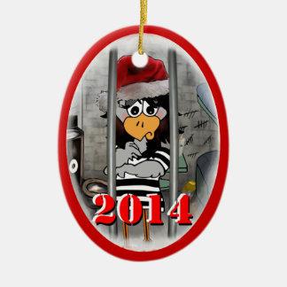Ornamento 2014 del navidad del Jailbird Adorno Navideño Ovalado De Cerámica