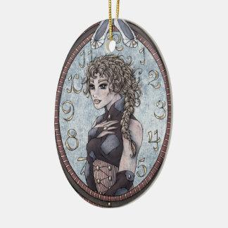 Ornamento #2 del arte de la fantasía de adorno navideño ovalado de cerámica