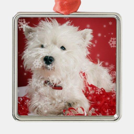 Ornamento #2 del copo de nieve del navidad de adorno navideño cuadrado de metal