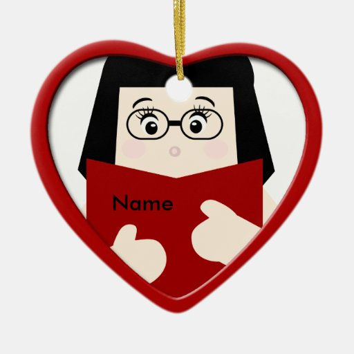 Ornamento 2 del corazón del navidad de la lectura ornamento para reyes magos