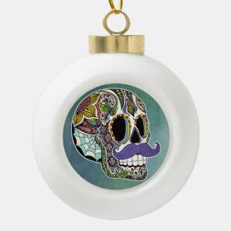 Ornamento #2 del cráneo del azúcar del bigote adorno de cerámica en forma de bola